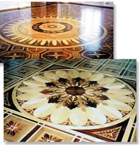 Wood floor Medallions with Parquet