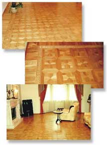 Hardwood parquet flooring and parquetry