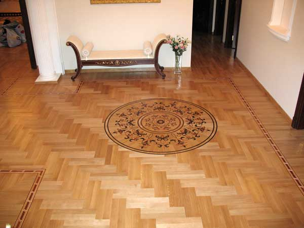 White oak Herringbone with double planks hardwood floor