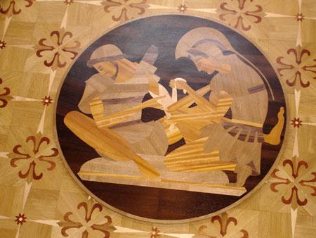 249: Greek warriors medallion.