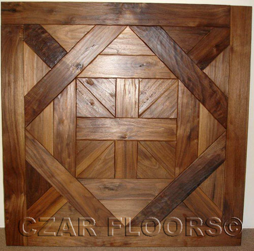 393: Bordeaux parquet made in hand scraped, Character grade American Walnut