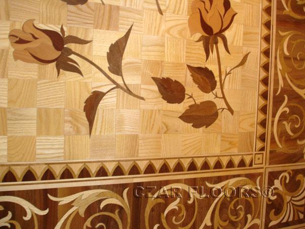 411: Custom Flowers Wood Inlay and Border