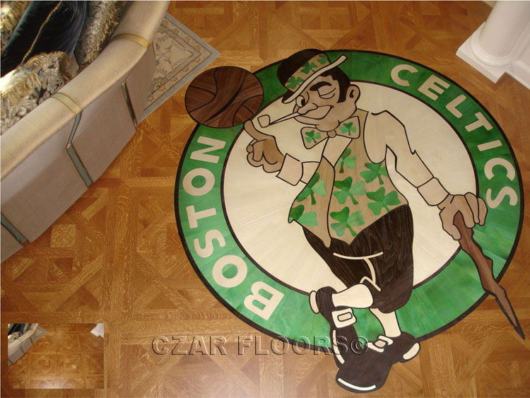 Custom logo hardwood floor example