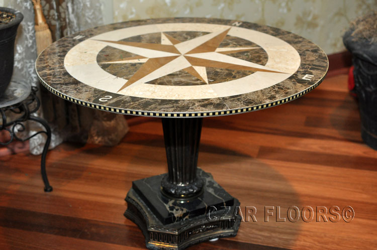 waterjet marble medallion used as a tabletop