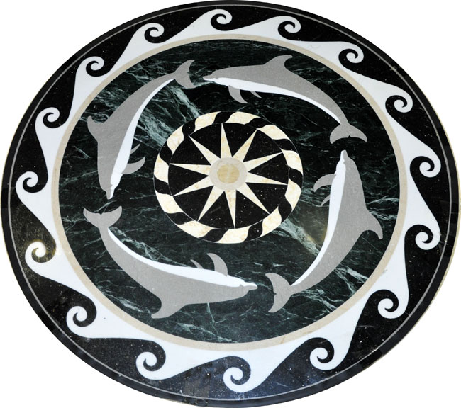 444: Marble Medallion Dolphins-II can be used in pools, pool decks or inside the house