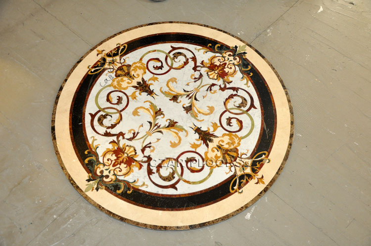 Layout of the stone waterjet medallion with tiles