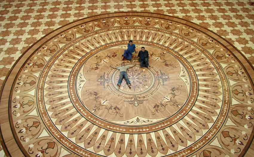 The largest wood floor medallion built by Czar Floors. Custom hardwood parquet