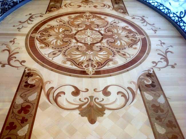 462: Wood inlay in the overhead hallway