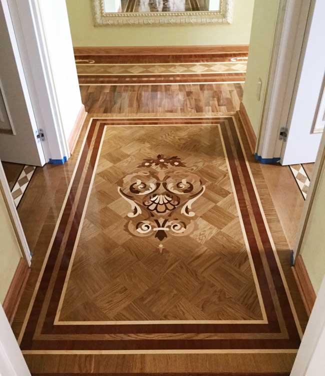 Example Of Wood Custom Flooring Hallway Inlay Design