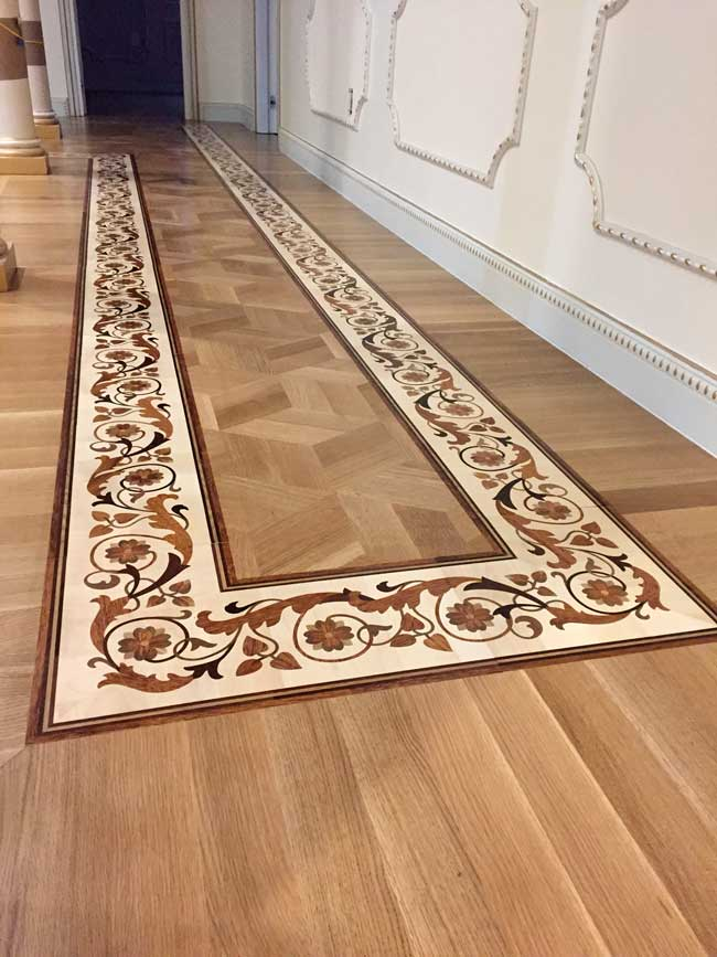 497: Custom border set in Rift white oak parquet
