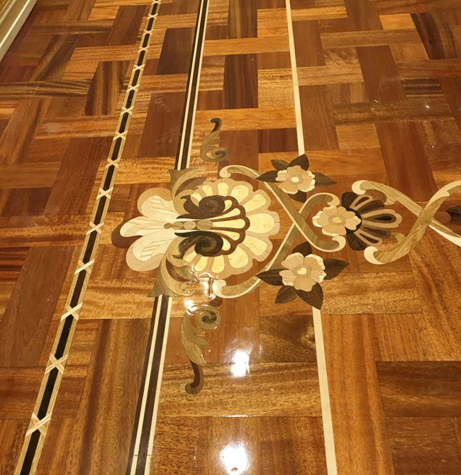 539: Wood Inlay Border, inlay in basket weave parquet
