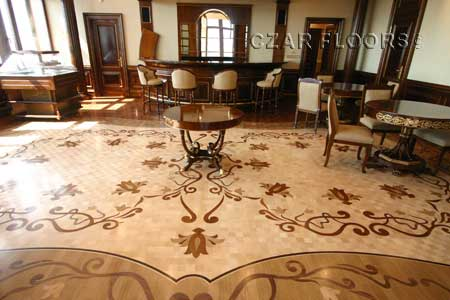 Wood Floor Medallions Herringbone Wood Borders And