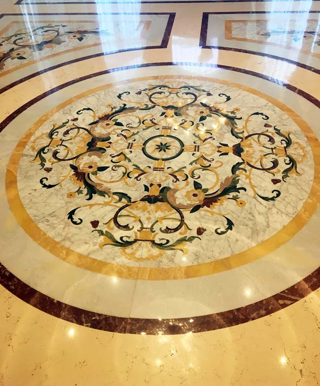 593: Custom medallion as part of larger marble floor