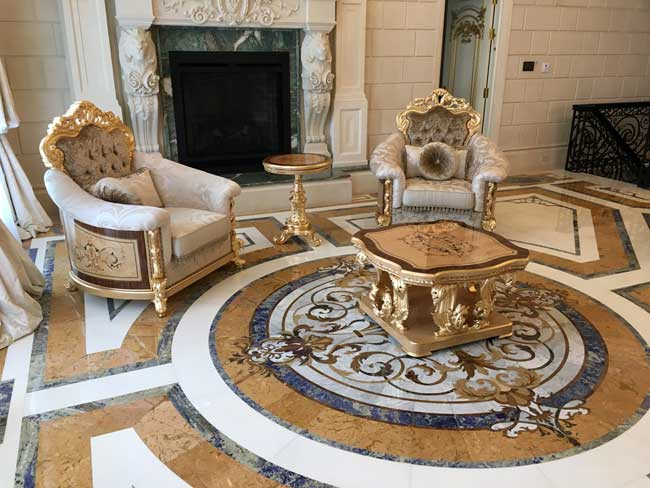 521: Part of custom marble room design