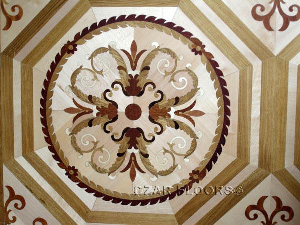 412: Close up of custom parquet tile