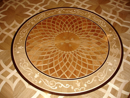 141: P2 (model P2R round) medallion 60 inches installed with MX1 parquet
