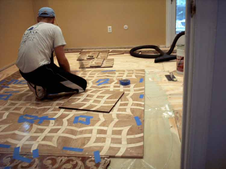 Unfinished parquet flooring tiles