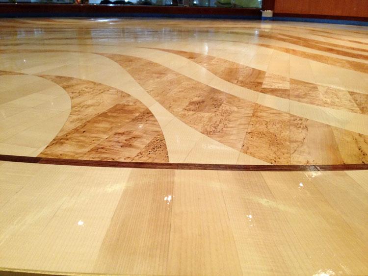 Close up of the custom wood floor