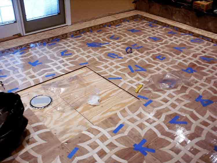 Preparation for medallion installation into parquet floor
