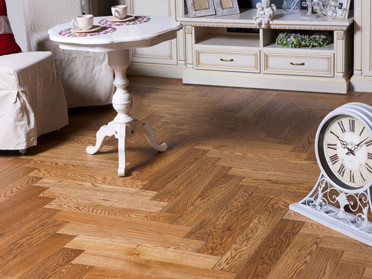 White Oak Herringbone flooring