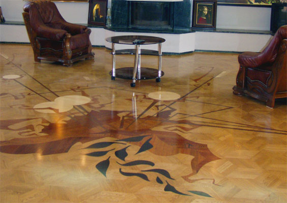 22: Custom design over M16 parquet