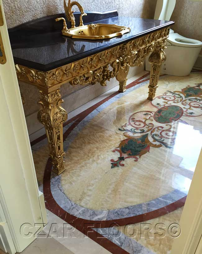 467: Bathroom with waterjet marble floor design