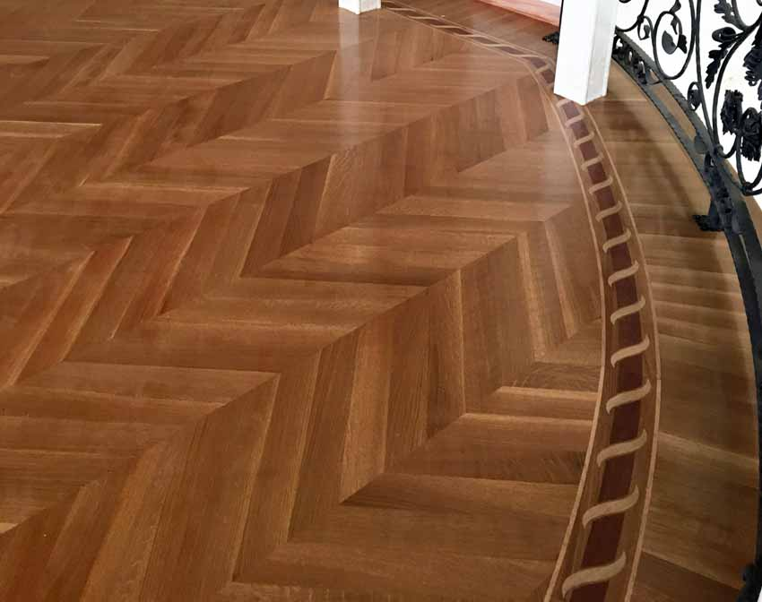 Chevron parquet flooring example