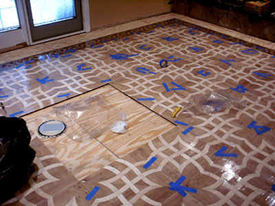 Preparation for medallion installation into parquet floor