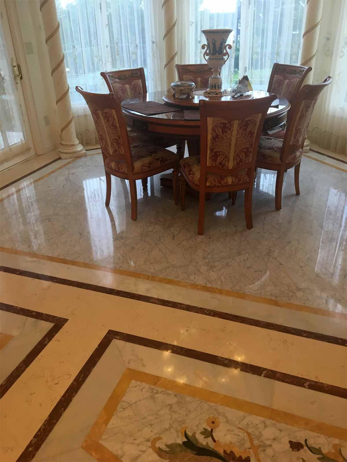 567: Custom marble floors in Breakfast Area