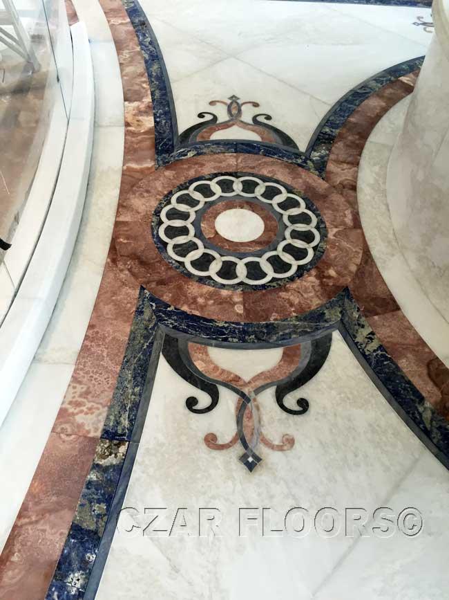 472: marble waterjet design in bathroom