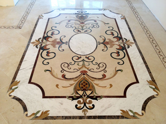 439: Custom Marble medallion with SB27 marble borders