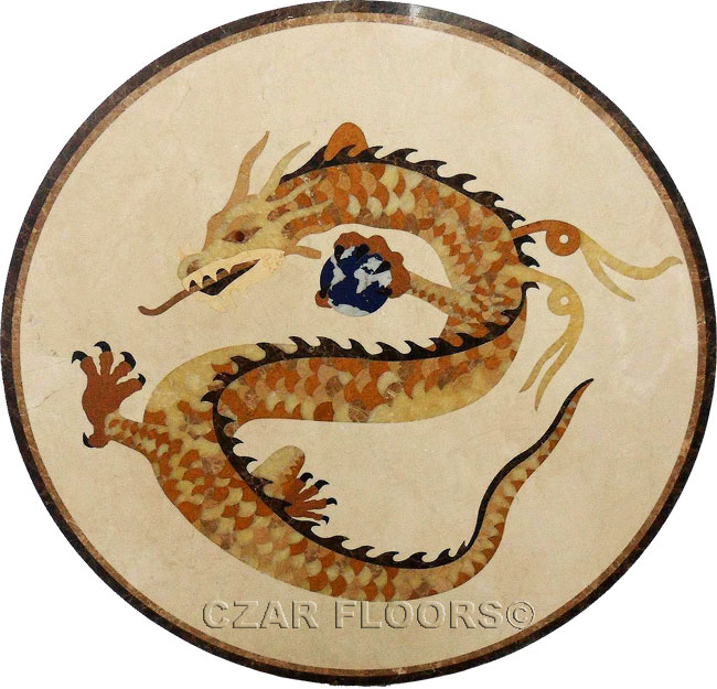 427: Customized Dragon marble medallion