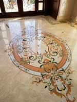 ID:520; Custom Pre-cut marble medallion in Entry