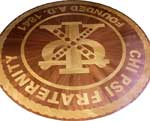 ID:526; Chi Psi Fraternity Crest in wood