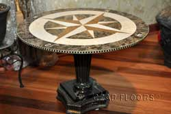 waterjet marble medallion used as a table top