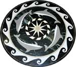 ID:444; Marble Medallion Dolphins-II can be used in pools, pool decks or inside the house