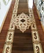ID:517; Hallway wood inlay design with border and medallion