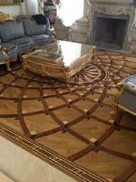 ID:558; Custom 3D wood rug won 2019 NWFA Floor of The Year Award