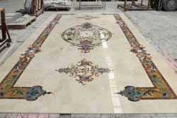 Assembly of the marble rug waterjet inlays