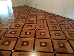 Custom parquet with  Rift white oak and merbau