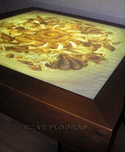 Marquetry inlay table top with illumination