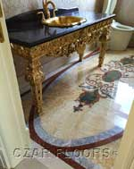 ID:467; Bathroom with waterjet marble floor design