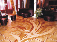MX12 parquet scaled to fit the room with built-in furniture - ID:23