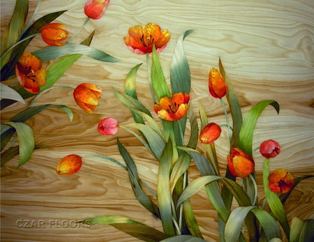 Picture of Tulips in Marquetry