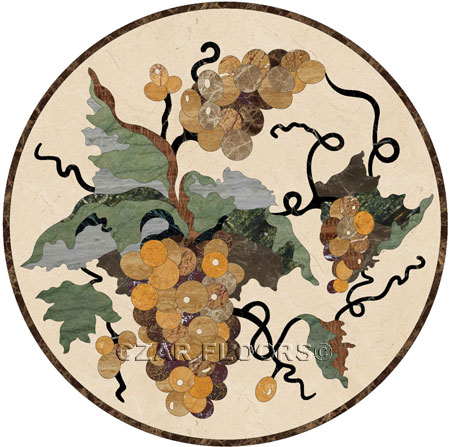 Grapes I Marble Floor Medallion