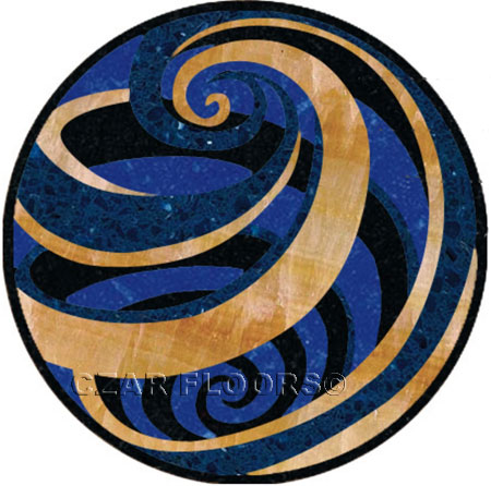 Vortex-Blue Marble Floor Medallion