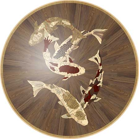 Picture of Koi in Wood Medallions