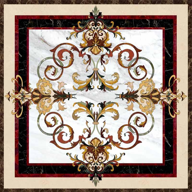 Garden III Marble Floor Medallion