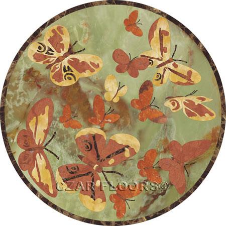Butterfly-Green Marble Floor Medallion