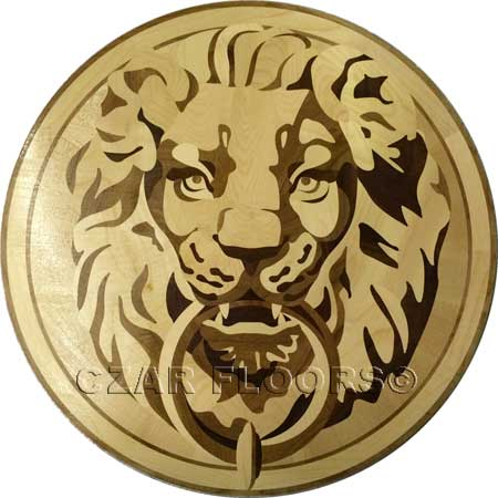Lion Head Wood Floor Medallion